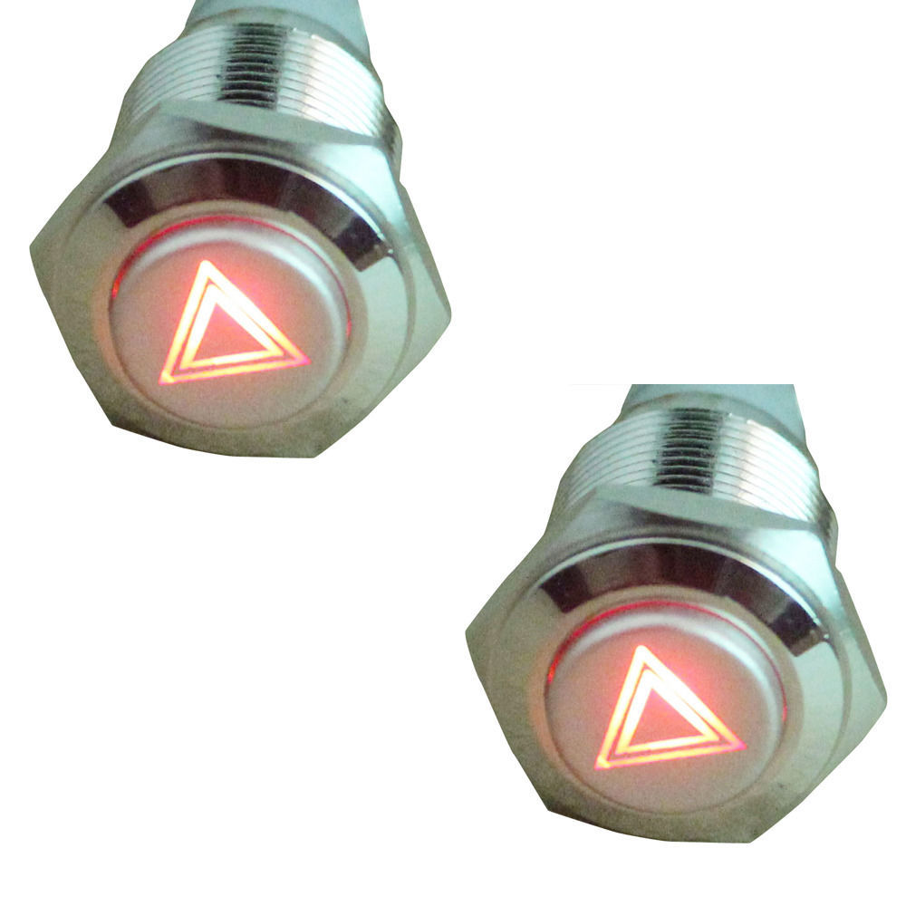 EE support 2 Pcs 16mm 12V Red LED Light Emergency Symbol Lights Push Button ON/OFF Metal Switch Universal Car Accessories XY01