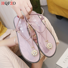 HQFZO 2019 new bling summer shoes flat pearl sandals beach slippers casual pink T-strap thong crystal Flip Flops