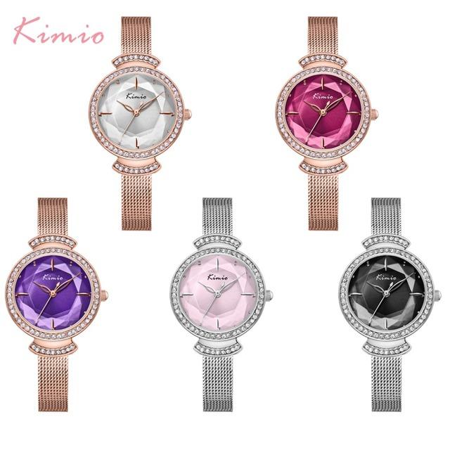 Kimio Brand Women Quartz Watches Ladies Creative Multi-faceted Dial Watch Luxury Stainless Steel Mesh Belt Waterproof Wristwatch