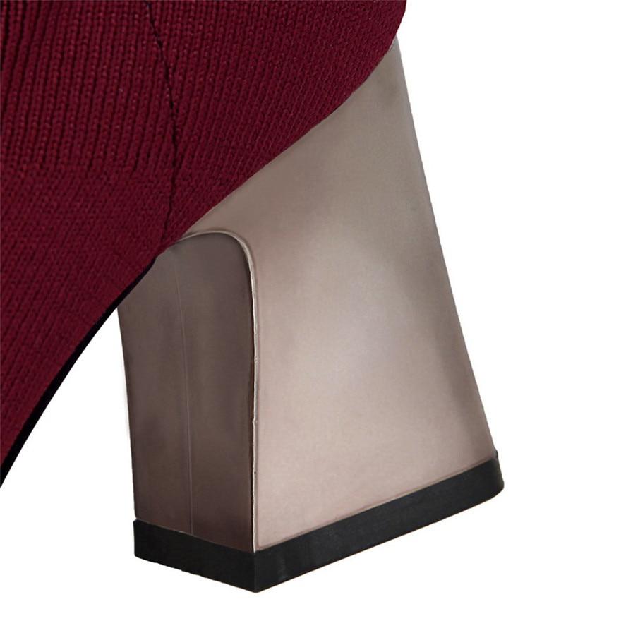 Mujeres Colores De Estilo 2 Cm Nueva Punta Moda apricot Las Cuadrado Mujer Tacones Corto Botas gris vino Metal Sólido Alto Zapatos Tinto 4 Tacón 7 Negro dwIqqR