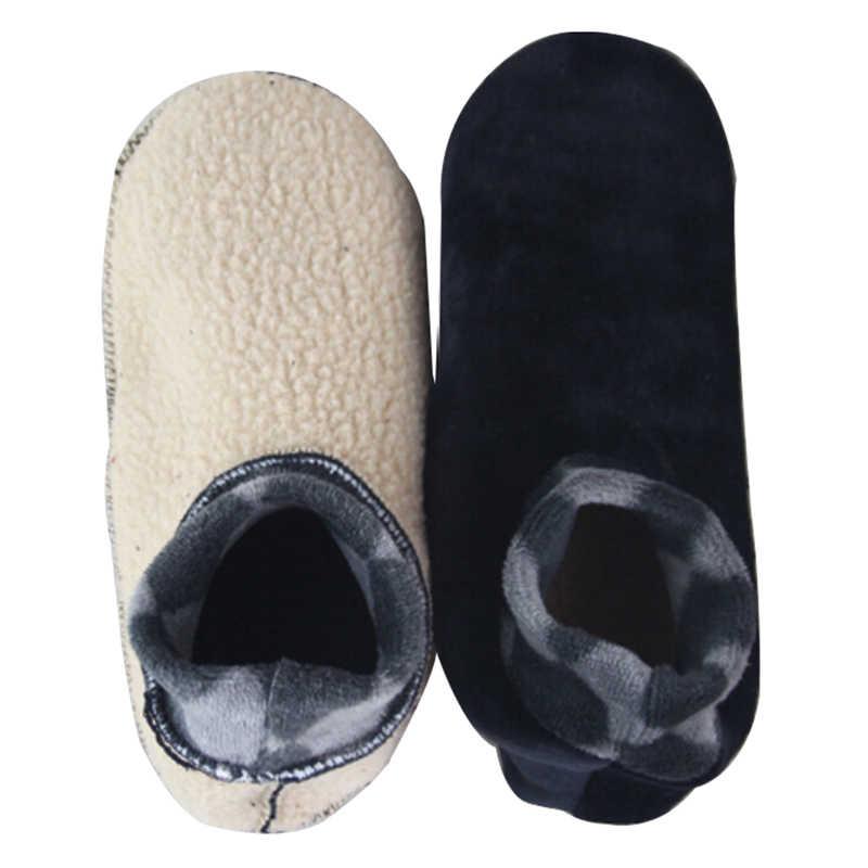 1 çift Erkek Kadın Yumuşak Polar Çorap Kalınlaşmak Kış Sıcak Çizme Çorap Unisex Elastik Kaymaz Kapalı kat çorap Terlik 4 renkler
