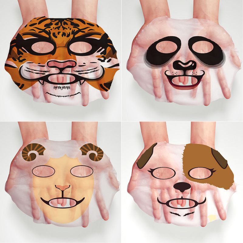 1pc/set 30g Face Makeup Mask Face Care Mask Animal Soft Mask Tiger Panda Pattern Moisturizing Nourishing South Korean Cosmetics