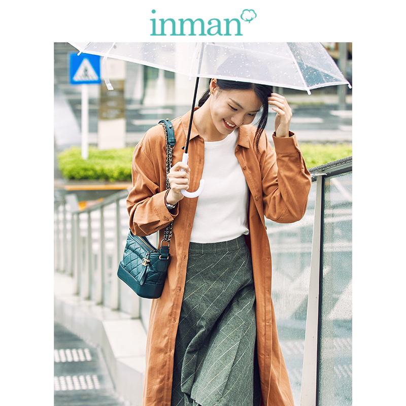 INMAN 2019 Autumn New Arrival Cotton Turn Down Collar Fashion Casual All Matched Long Sleeve Women Overcoat Dress in Dresses from Women 39 s Clothing