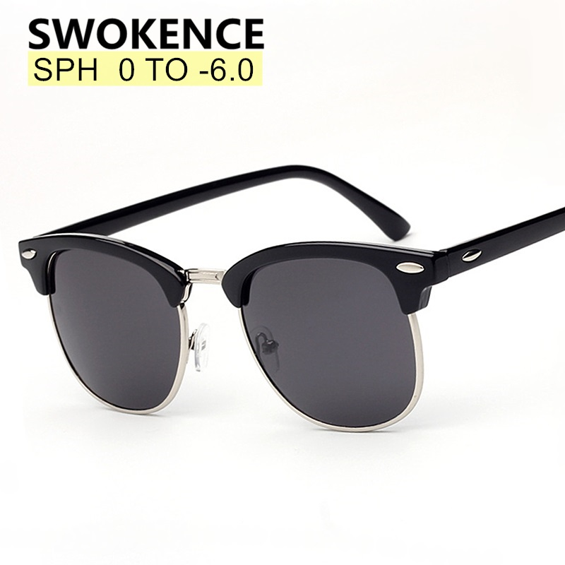 SWOKENCE Prescription Glasses SPH -0.5 to -6.0 For Myopia Men Women Fashion Polarized Sunglasses With Diopter Shortsighted WP015