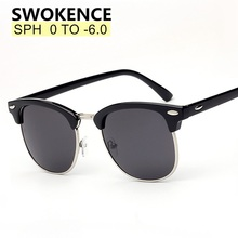 SWOKENCE Prescription Glasses SPH  0.5 to  6.0 For Myopia Men Women Fashion Polarized Sunglasses With Diopter Shortsighted WP015