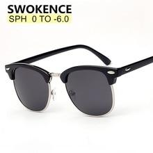 SWOKENCE reçete gözlük SPH  0.5 to  6.0 miyopi için erkek kadın moda polarize güneş gözlüğü ile diyoptri Shortsighted WP015