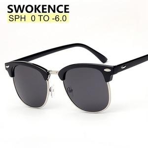 Image 1 - SWOKENCE reçete gözlük SPH  0.5 to  6.0 miyopi için erkek kadın moda polarize güneş gözlüğü ile diyoptri Shortsighted WP015