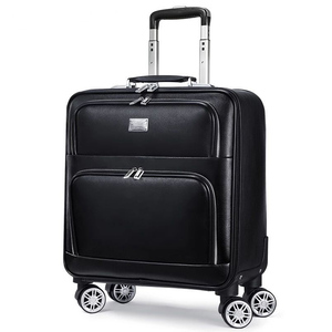 Image 2 - men retro Genuine cow Leather cabin trolley suitcase spinner brand carry on women business travel bag rolling luggage on wheels