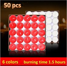 50pcs aroma candle scented fragrance candle wax tea lights romantic candle smokeless6 colors burning time 2 hours  free shipping
