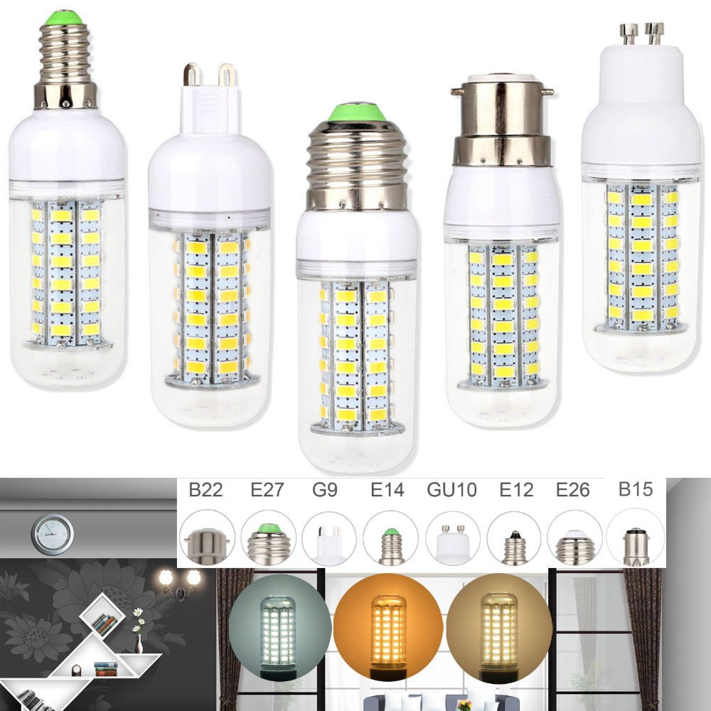 Mini Led Corn Lamp E27 E14 B22 Bayonet SMD 5730 Chip 24/36/48/56/69/72leds 220V Led light 360 beam angle for droplight
