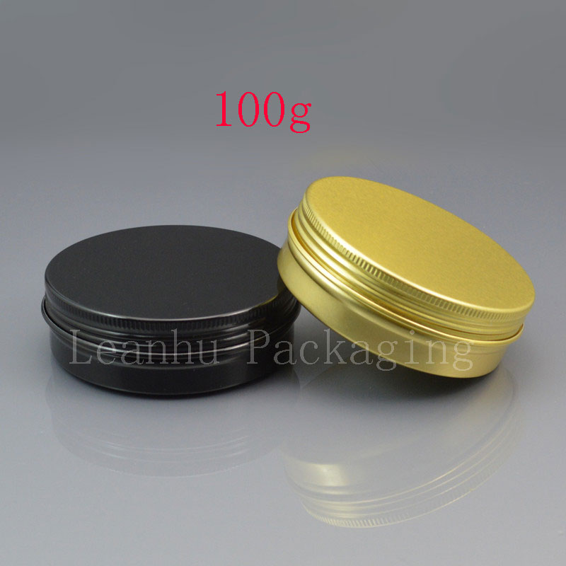 100g gold empty aluminum cosmetic bottle black aluminum jar tin with screw lid metal black tea box aluminum gift containers