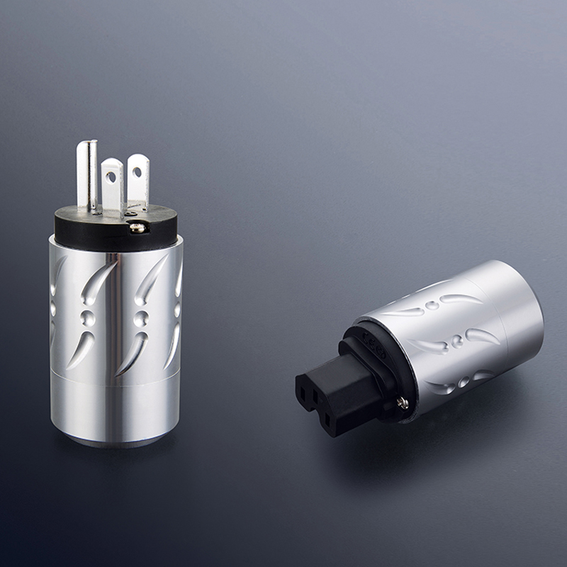 Free shipping One pair Viborg VM502S&VF502S Pure Copper Silver Plated HIFI US Power Plug+IEC Female Connector free shipping one pair viborg ase t asf t silver plated schuko power connector iec female plug with diy audio power cable