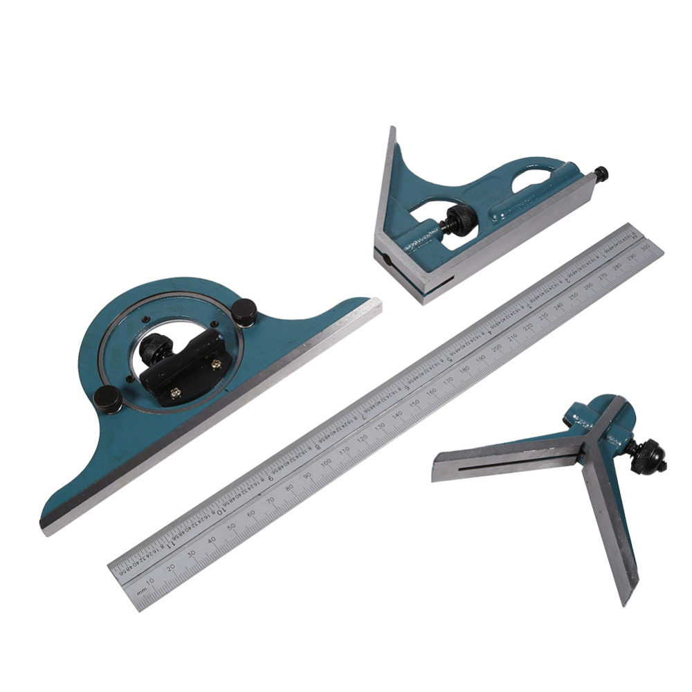 1 Set Stainless Steel Angle Ruler Universal Bevel 180 Degree Angle Combination Square Protractor Ruler Set
