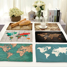 Popular map table buy cheap map table lots from china map table world map placemat fabric coaster table decoration mat kitchen posavasos manteles individuales onderzetters h194china 13 colors available gumiabroncs Gallery