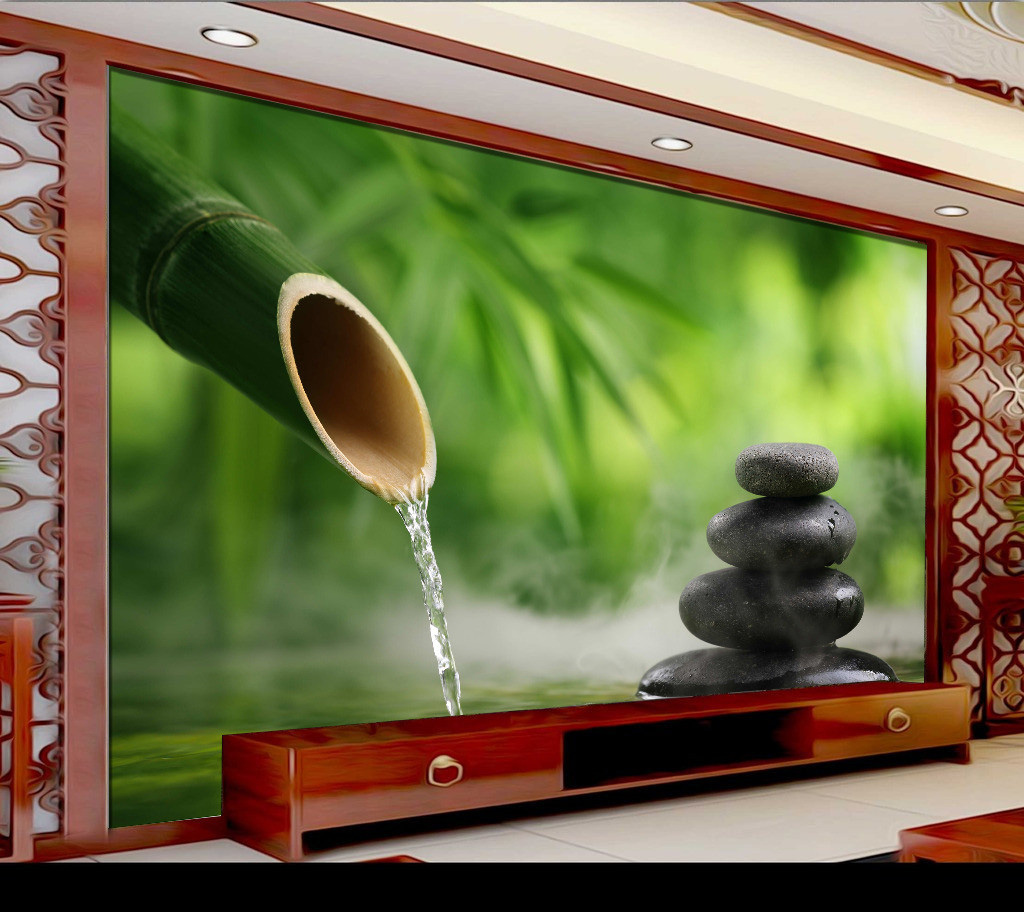 Fresh bamboo forest water on stone yoga spa salon for Bamboo mural wallpaper