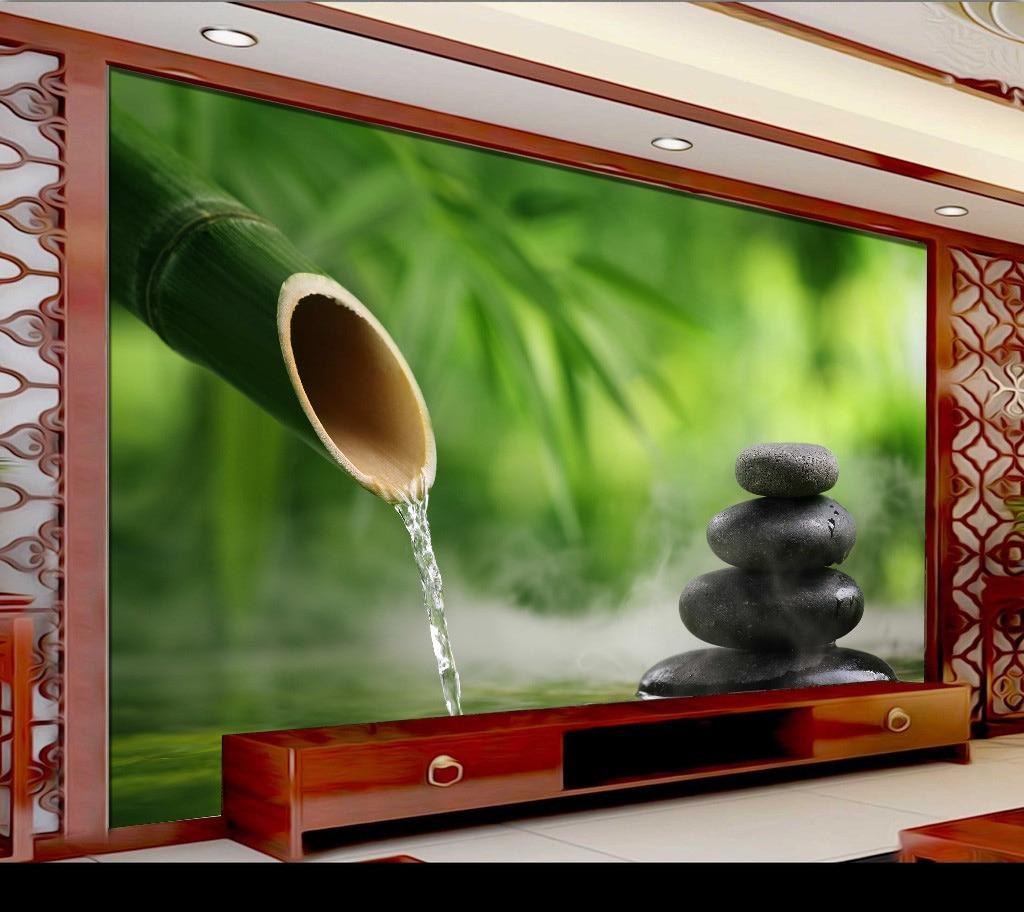 Aliexpress 3d Wallpaper Fresh Bamboo Forest Water On Stone Yoga Spa Salon