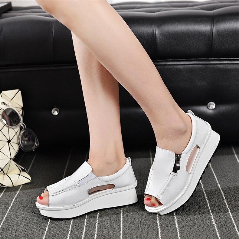 2019 Fashion Summer Women Sandals Wedges Sandals Ladies Open Toe Round Toe Zipper Silver White Platform Sandals Shoes (14)