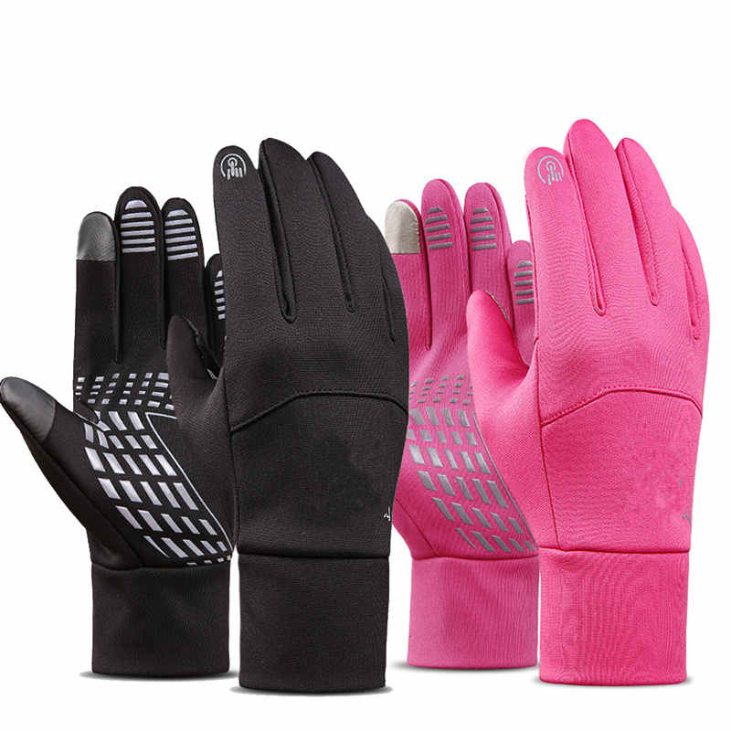ONE pair Black Pink Waterproof Windproof Nylon Cycling Gloves Touch Screen for motorcycles racing cycling hiking