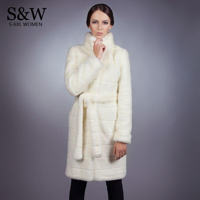 Plus la Taille 5XL Col montant Rayé Faux Manteau De Fourrure Femmes Blanc Long Manteau De Fourrure Fausse Fourrure De Vison Veste Chaud Épais Pardessus Avec ceinture