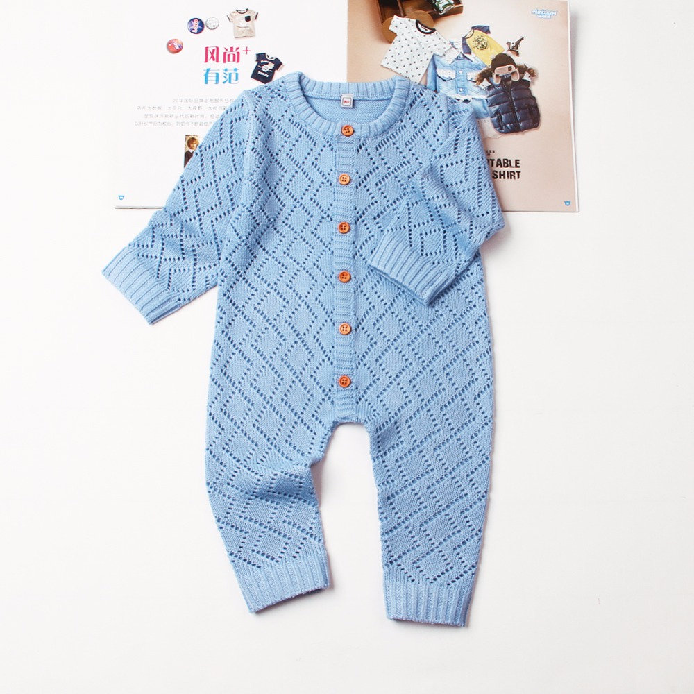 Baby Boys Girls Rompers Long Sleeve Knitting Pattern Overalls For