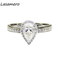Lasamero 1ct水ドロップ梨カット模擬ダイヤモンドリング925スターリングシルバーヘイローアクセントロマンチックな婚約ウェディングリン