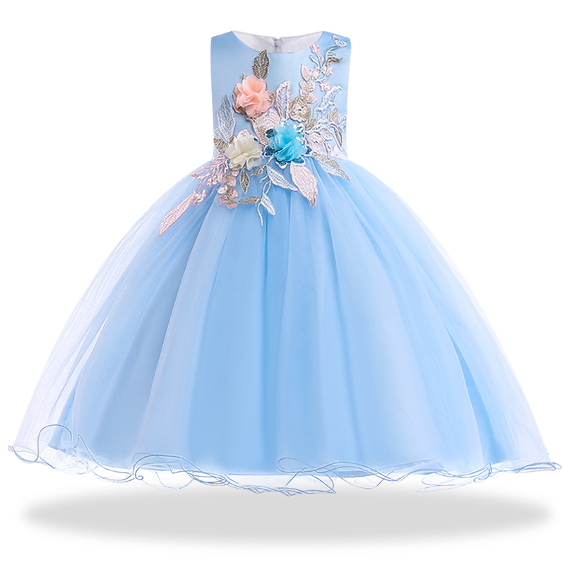 Vestidos Flower Girls dresses for formal party Baby Girls Sleeveless embroidery tutu Princess Wedding Dress Children Party flower girl dresses for new year clothes party baby girls sleeveless bow lace princess wedding dress children party vestidos