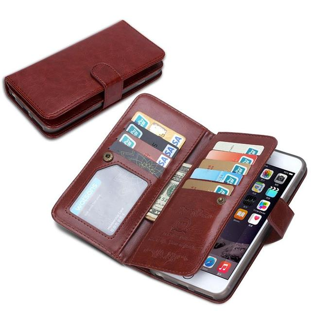 huge selection of 722f7 8f9d0 US $9.35 33% OFF|9 Card Slot ! Luxury Leather Wallet Flip Case For Iphone 6  6S Plus 5.5inch Hard Back Case 2 in 1 Magnetic Cash Holder Stand Capa-in ...