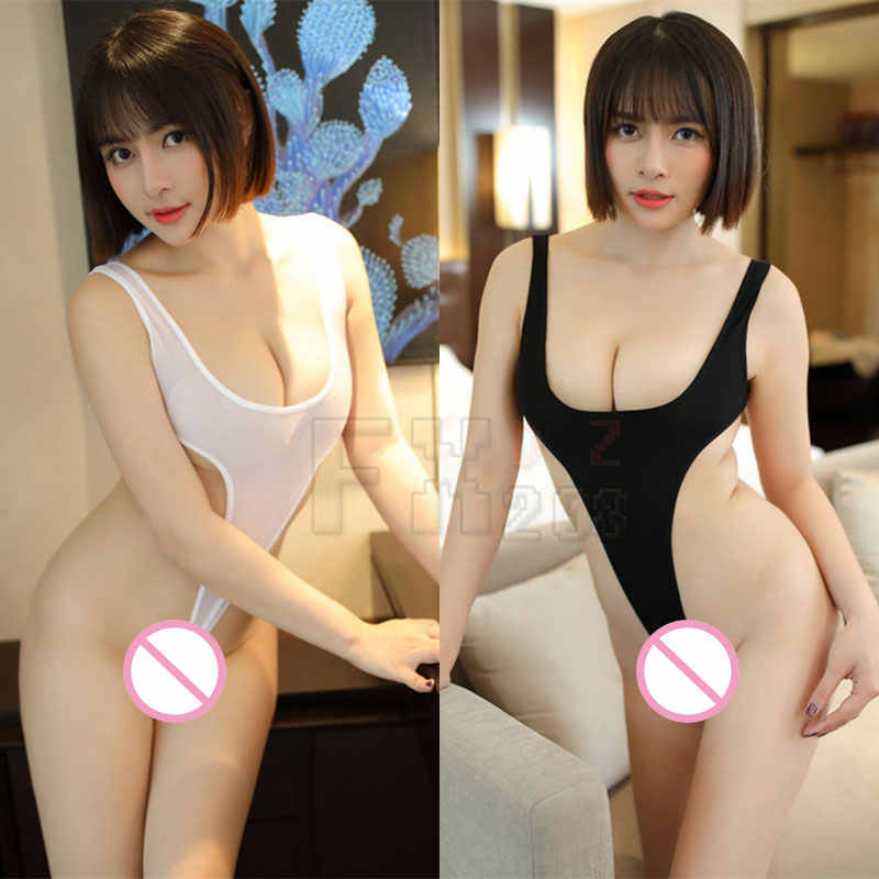 Sexy Women Thin Smooth Milk Ice Silk See Through High Cut Bodysuit Thong Transparent Erotic Lingerie Catsuit Thong Leotard 9