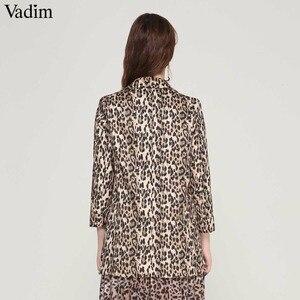 Image 2 - Vadim 女性ヴィンテージヒョウブレザーポケットノッチ襟長袖コート女性の上着ファッション casaco フェミニン CA076 トップス