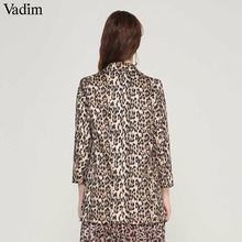 Vadim women vintage leopard blazer pockets Notched collar long sleeve MT