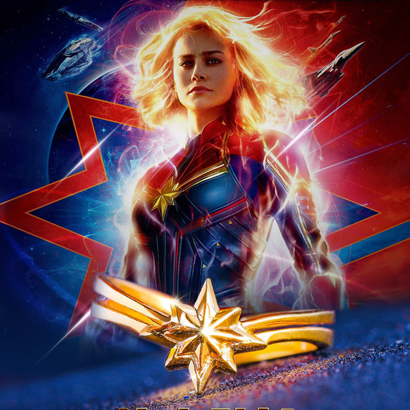 Latest Movie Captain Marvel Ring 925 Silver Jewelry Resizable Stars Finger Ring for Women Men Accessories