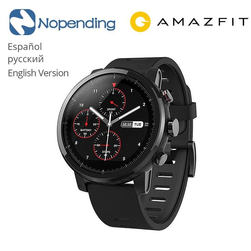 Original NOVO Huami Amazônia Stratos 5ATM Resistente À Água Esportes Relógio Inteligente 2 1.34 'Tela GPS Firstbeat 2.5D Natação Smartwatch