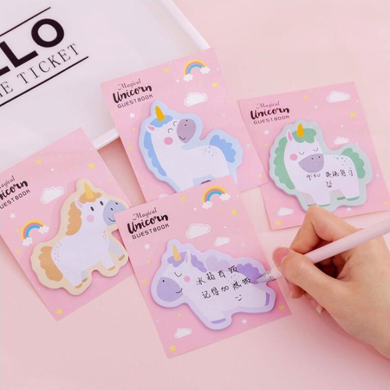 Teenage Cute Unicorn Memo Pads Post Sticker Scrapbook Diary Planner Sticky Notes Office Stationery School Supplies 30Sheets