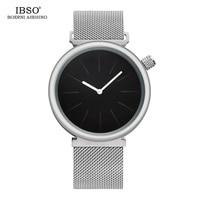 Ibso marca moda creativa para hombre relojes 2018 de acero inoxidable de malla Correa magnética hebilla reloj de cuarzo hombres Relogio Masculino