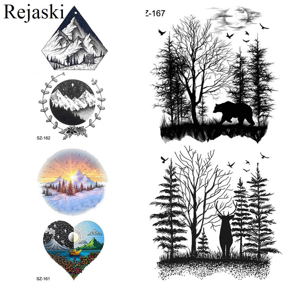 Rejaski Waterproof Tattoo Stickers Women Body Arm Temporary Tattoo Men Self Adhesive Black Fake Tatoos 3D Valley Make Up Forest