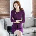 El otoño y el invierno ropa de trabajo femenina delgada de manga larga conjunto ocupacional de belleza ropa de trabajo uniformes de la azafata de recepciones trabajo desgaste