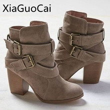 Europe Style Vintage Women High Heels Ankle Boots Buckle Rubber Casual Ladies