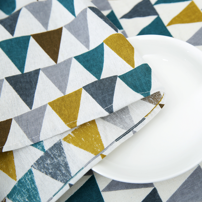 Patrones estampados triangulares mantel algodón Lino comedor ...