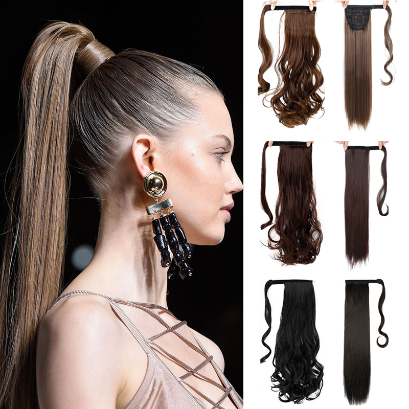 MSTN Long Wavy And Curly Real Natural Ponytail Clip In Ponytail Hair Extensions Wrap Around On Synthetic Hair Piece For Women