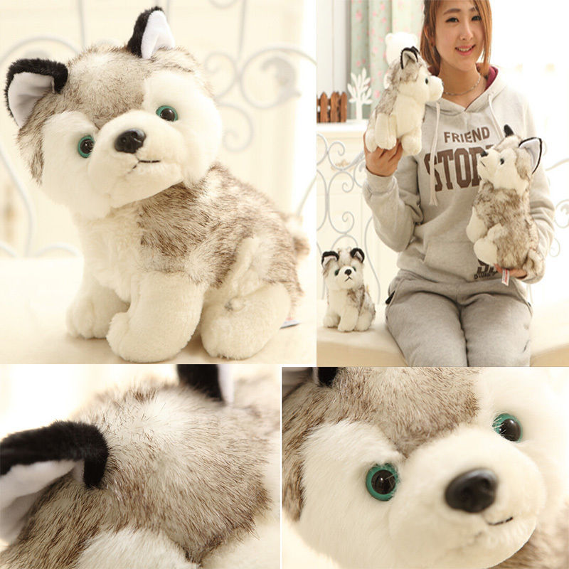 SUN & CLOUD 18 CM Kawaii Simulation Husky Dog Plush Toy Gift For Kids Stuffed Plush Toy New Arrival 80cm dog stuffed toys plush toy creative simulation doll white pattern dog home furnishings dog animal trade for kids gift
