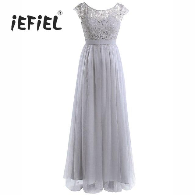 2017 вечернее платье макси для Для женщин Дамы Кепки рукавом Кружево тюль невесты Выходные туфли на выпускной бал платье для Для женщин Vestidos длинное платье