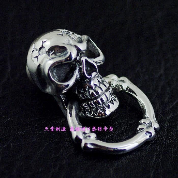 Wallet diy925 pure silver skull head monk head of the chain buckle wallet 925 pure silver skull head monk