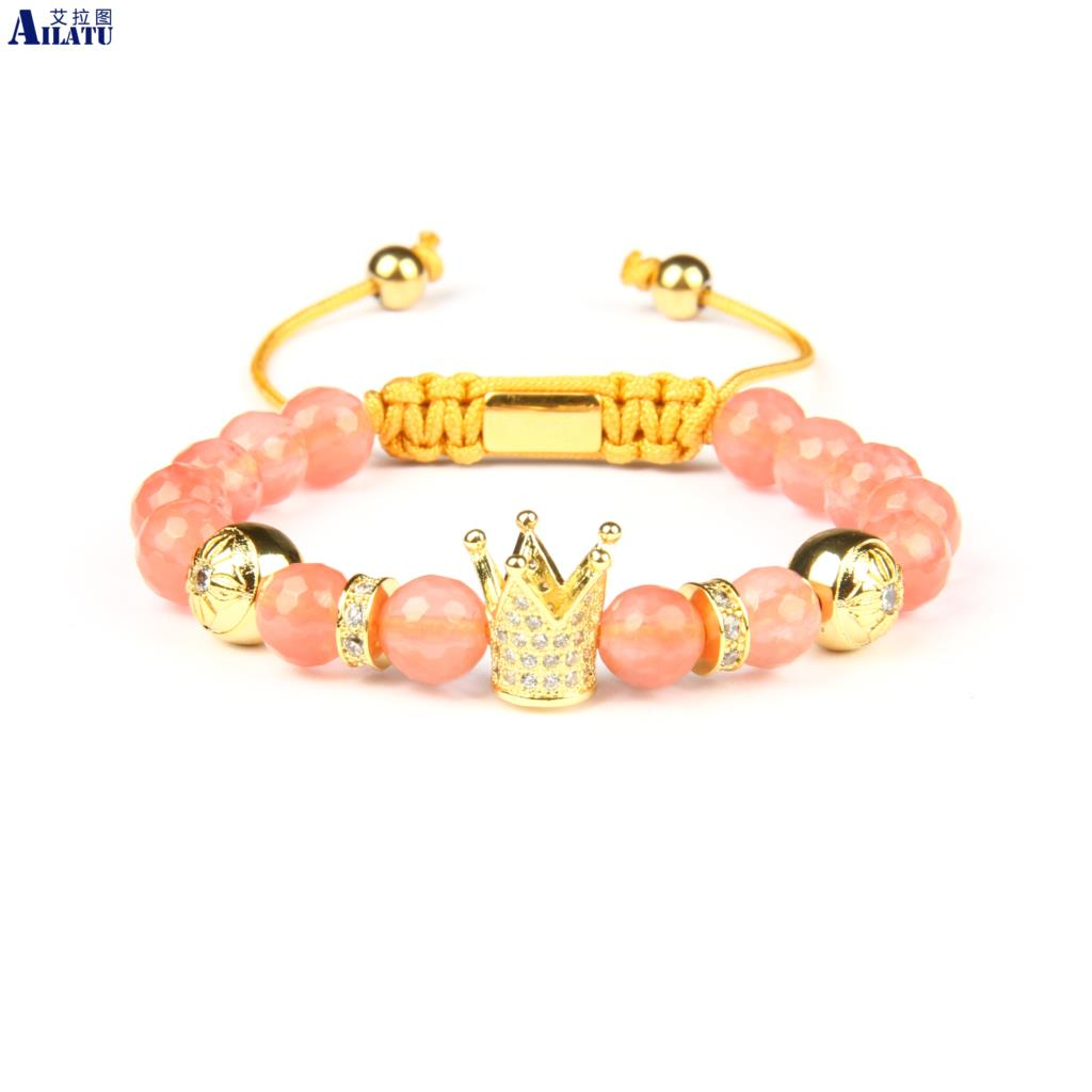 Ailatu Crystal Watermelon Skin Stone Clear Cz Crown Braided Bracelet Top Quality