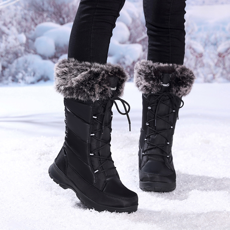Winter Waterproof Boots Women Black Lace Up Warm Long Snow Shoes Woman Fashion Luxury Brand Nylon