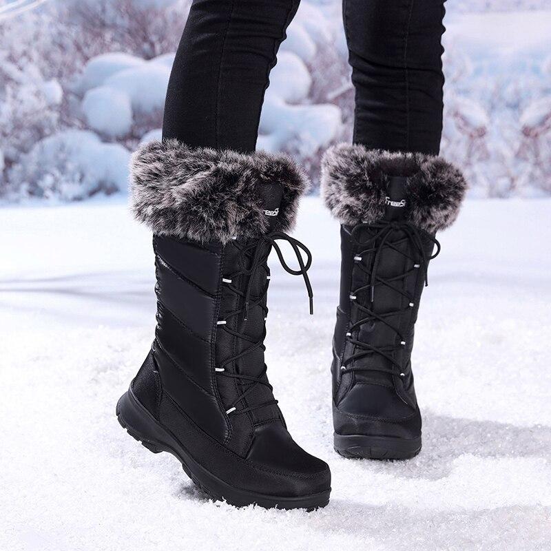 الشتاء أحذية برقبة طويلة مقاومة للماء النساء السود الدانتيل يصل الدافئة طويلة أحذية ثلج امرأة الأزياء الفاخرة العلامة التجارية النايلون المطاط إمرأة الفخذ أحذية عالية-في أحذية منتصف ربلة الساق من أحذية على  مجموعة 1