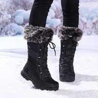 Botas impermeables de invierno para mujer, botas negras con cordones, zapatos largos de nieve cálidos, botas altas hasta el muslo de goma de Nylon de marca de lujo para mujer