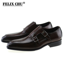 FELIX CHU Autumn Genuine Leather Double Buckles Mens Dress Shoes Formal Occasions Man Brown Black Monk Strap Suit Shoe E71815-9(China)