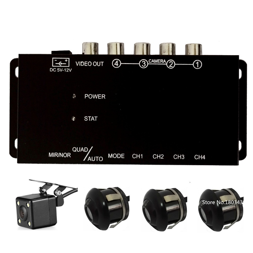 IR control 4 Cameras Video Control Car Cameras Image Switch Combiner Box + Front Rear Right Left view Camera For CAR DVD Radio