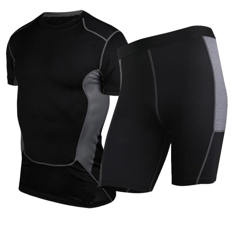 Yuerlian Quick Dry Fitness Tights Running Set Gym Sportswear Short Sleeve T-Shirt Demix Shorts Yoga Tracksuit Mens sports suits demix сетка для баскетбольного кольца demix
