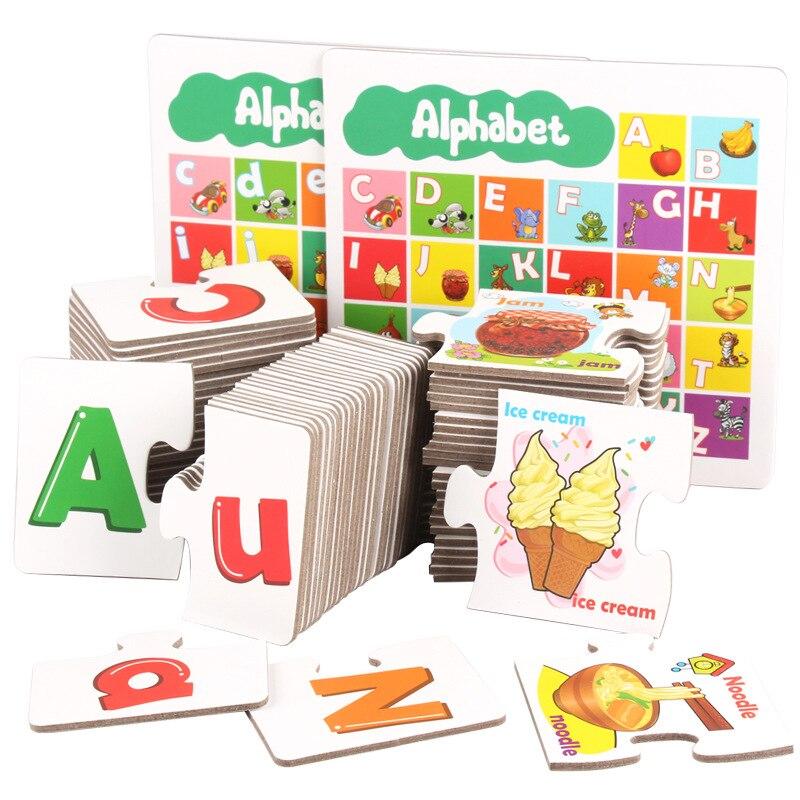 Детские игрушки, деревянные головоломки раннего буквы алфавита карты дошкольного образования малышей игрушка для детей 2018 E3184Z